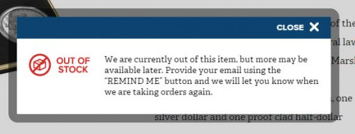 Currently Unavailable US Mint Status Message