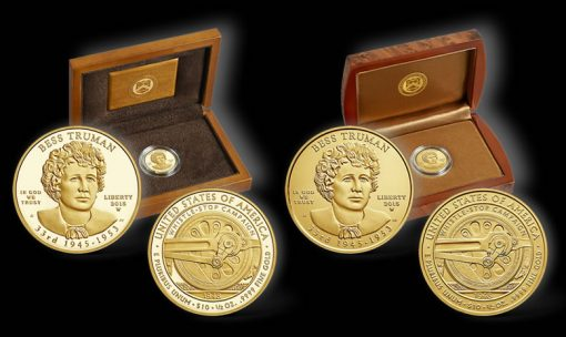 Proof and Uncirculated 2015 Bess Truman First Spouse Gold Coins and Cases
