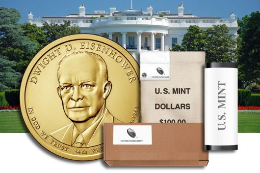 Rolls, Bags and Boxes of Dwight D. Eisenhower Presidential $1 Coins