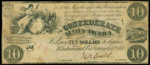 T-27, Confederate Currency. 1861 $10