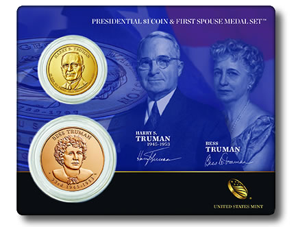 Truman Presidential $1 Coin and First Spouse Medal Set