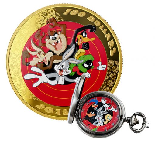 2015 $100 Bugs Bunny and Friends Gold Coin, Plus Watch