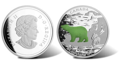 2015 $20 Polar Bear Silver Coin with Canadian Jade (Obverse and Reverse)