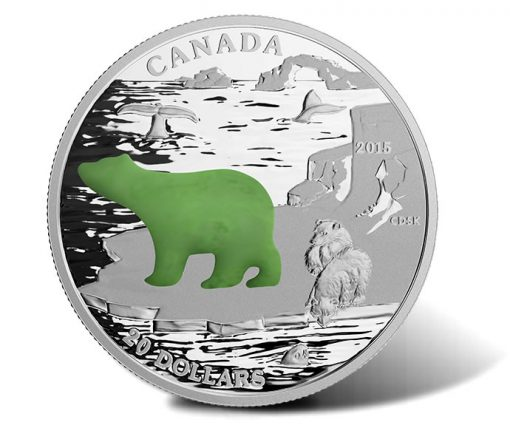 2015 $20 Polar Bear Silver Coin with Canadian Jade (Reverse)