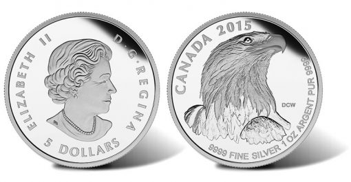 2015 $5 Bald Eagle Silver Proof Coin (Obverse and Reverse)