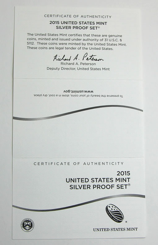 2015 Silver Proof Set Certificate of Authenticity