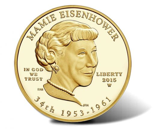 2015-W $10 Proof Mamie Eisenhower First Spouse Gold Coin - Obverse