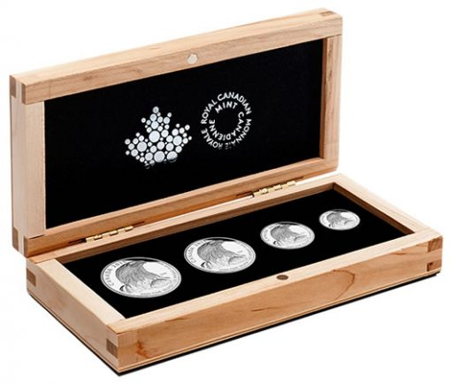 Case and Coins of the 2015 Bald Eagle Fine Silver Fractional Set