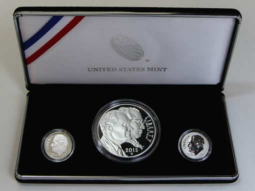 Coins and case of 2015 March of Dimes Special Silver Set