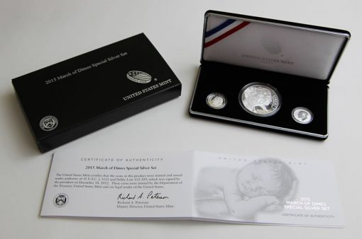 Coins, case, packaging and cert of March of Dimes Set