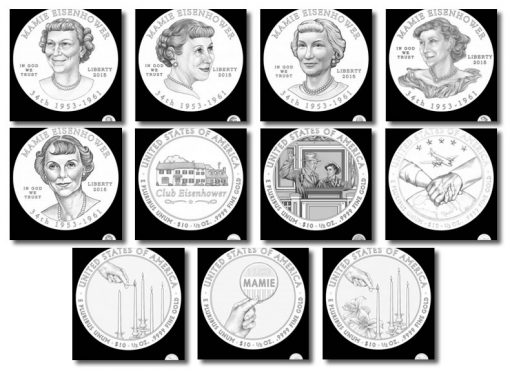Design candidates for Mamie Eisenhower First Spouse Gold Coins