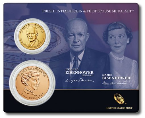 Eisenhower Presidential $1 Coin and First Spouse Medal Set