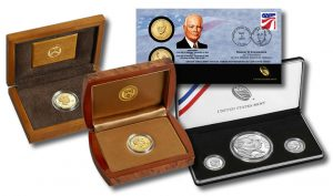 Mamie gold coins, Ike cover and silver set