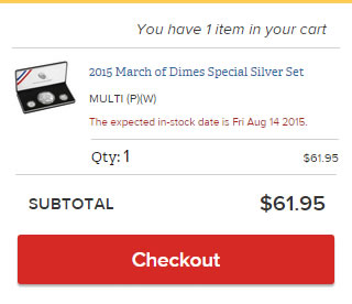 March of Dimes Set In-Stock Message