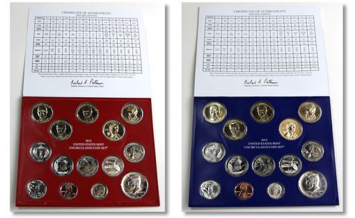 Photo of Folders and Coins of 2015 US Mint Uncirculated Coin Set