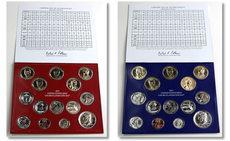 photo of folders and coins of us mint coin set
