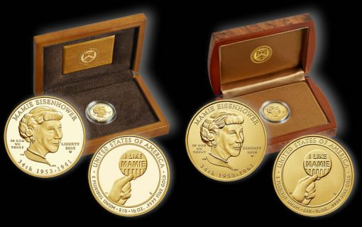 Proof and Uncirculated 2015 Mamie Eisenhower First Spouse Gold Coins and Presentation Cases