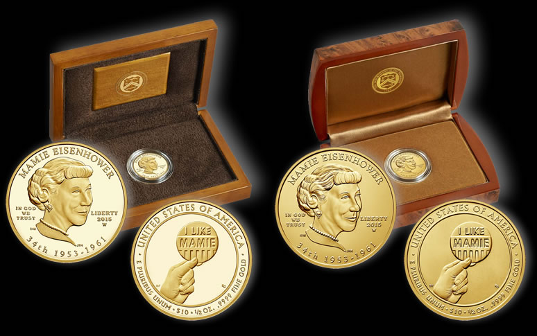 2015 Mamie Eisenhower First Spouse Gold Coins Available