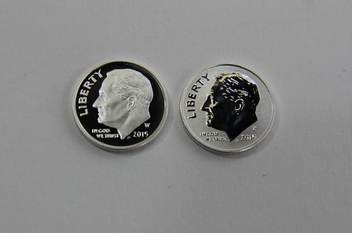 Proof and reverse proof 2015 Roosevelt Dimes - obverses
