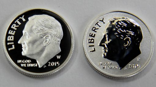 Proof and reverse proof 2015 Roosevelt Dimes - obverses, close-up