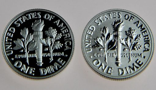 Proof and reverse proof 2015 Roosevelt Dimes - reverses, close-up