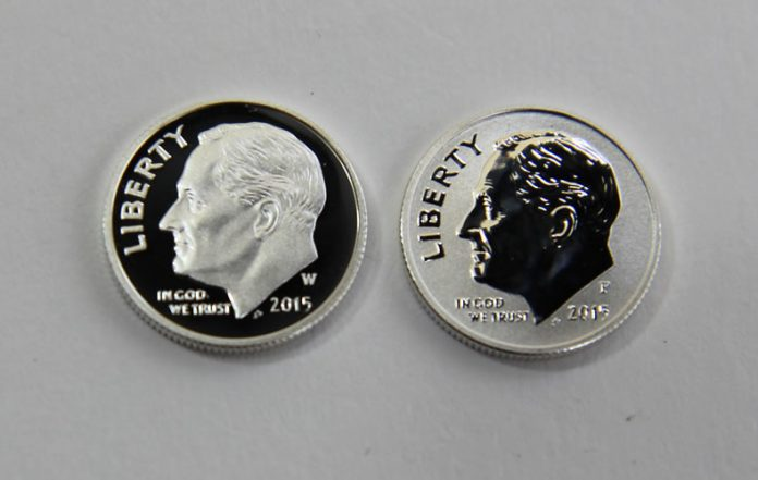 Proof and reverse proof 2015 silver dime