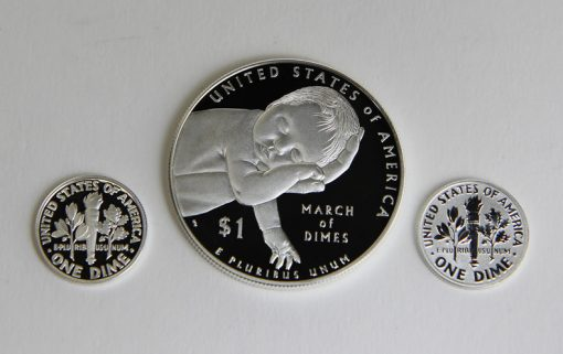 Proof, reverse proof 2015 dimes and proof March of Dimes $1 - reverses