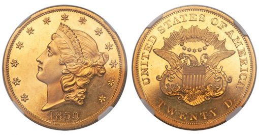 1859 $20 Liberty Double Eagle
