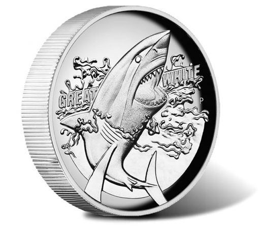 2015 $1 Great White Shark Silver Proof High Relief Coin