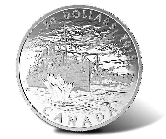 2015 $30 Canada's Merchant Navy in the Battle of the Atlantic Silver Coin