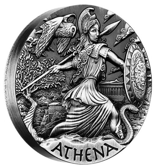 2015 Athena High Relief 2 oz Silver Coin - Reverse