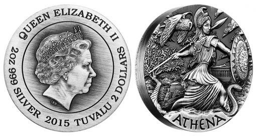 2015 Athena High Relief Silver Coin, Goddesses of Olympus Series