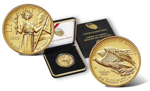 2015-W $100 American Liberty High Relief Gold Coin and Case