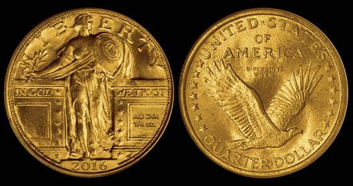 2016 24k Gold Standing Liberty Quarter Mock-up