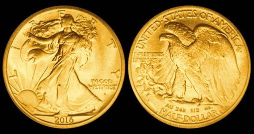 2016 24k Gold Walking Liberty Half-Dollar Mock-up