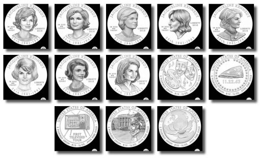 Design candidates for Jacqueline Kennedy First Spouse Gold Coins