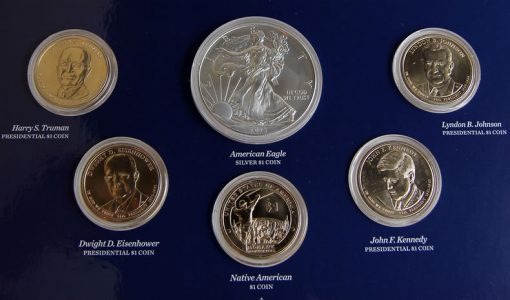 Photo close-up of coin obverses in 2015 Annual Uncirculated Dollar Coin Set