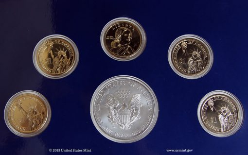 Photo close-up of coin reverses in 2015 Annual Uncirculated Dollar Coin Set
