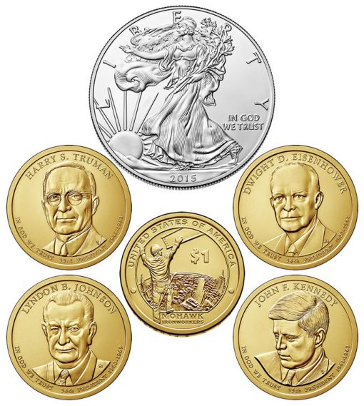 Six Coins of the 2015 Annual Uncirculated Dollar Coin Set