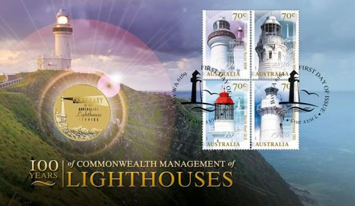 100 Years of Commonwealth Management of Lighthouses Stamp and Coin Cover