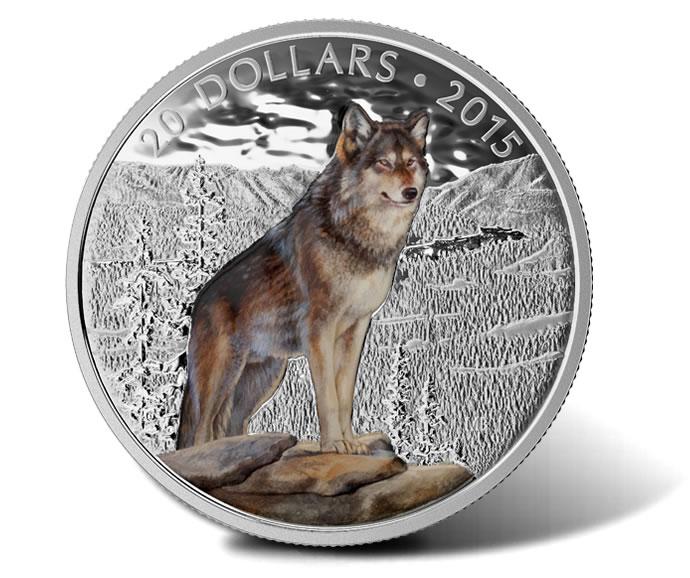 2015 $20 Imposing Alpha Wolf Silver Coin