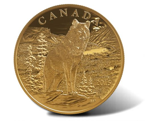 2015 $350 Imposing Alpha Wolf Gold Coin