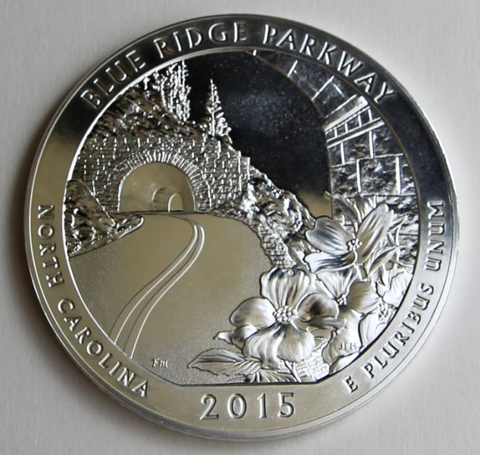 2015 Blue Ridge Parkway 5 Oz Ounce Silver Bullion Coin, Reverse