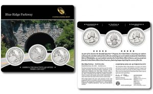 Three-Coin Set of 2015 Blue Ridge Parkway Quarters