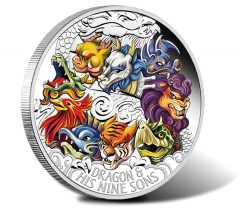 Dragon and Nine Sons Depicted on 5 Oz Silver Coin