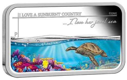 2015 I Love Her Jewel Sea Silver Rectangle Coin