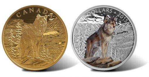 2015 Imposing Alpha Wolf Gold and Silver Coins