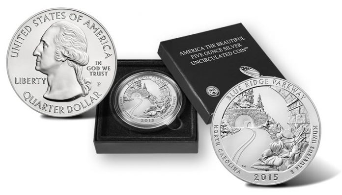 2015-P Blue Ridge Parkway Five Ounce Silver Uncirculated Coin and Presentation Case