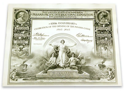 2015 Panama Pacific International Exposition Certificate