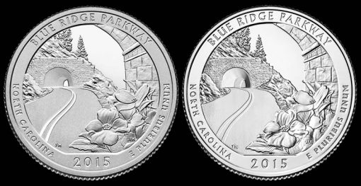 2015 Proof and Uncirculated Blue Ridge Parkway Quarters